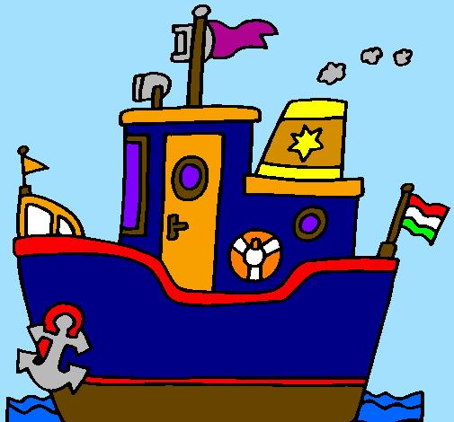 Disegno barca con ancora colorato da utente non registrato for Barchetta da pesca