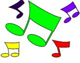 Disegno Note musicali  pitturato su sara