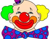 Disegno Pagliaccio con un enorme sorriso  pitturato su cami