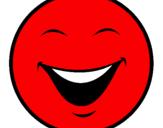 Disegno Viso pitturato su smile rosso