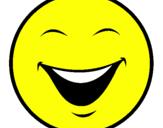 Disegno Viso pitturato su smile giallo
