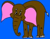 Disegno Elefante felice  pitturato su ajsi