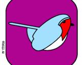 Disegno Uccello II pitturato su Celeste Pia