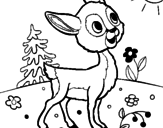 Disegno Cerbiatto pitturato su albero