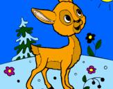 Disegno Cerbiatto pitturato su francy 7