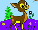 Disegno Cerbiatto pitturato su cerbi