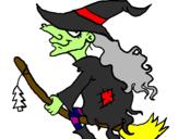 Disegno Strega sulla scopa volante pitturato su strega