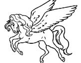 Disegno Pegaso che vola  pitturato su elio