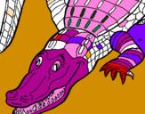 Disegno Coccodrillo pitturato su coccodrillo rosa