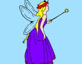 Disegno Fata con una lunga chioma  pitturato su laura