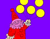 Disegno Pagliaccio con palloncini  pitturato su Nicole Cola