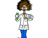 Disegno Scienziato pazzo  pitturato su LUCA