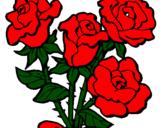 Disegno Mazzo di rose  pitturato su rosa  rossa