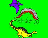Disegno Tre specie di dinosauri  pitturato su gia
