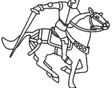 Disegno Cavaliere a cavallo IV pitturato su danilo