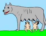Disegno Romolo e Remo con la lupa pitturato su ALESSANDRO