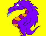 Disegno Drago panciuto pitturato su neni
