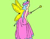 Disegno Fata con una lunga chioma  pitturato su catia