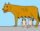 Disegno Romolo e Remo con la lupa pitturato su Constanza