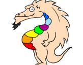 Disegno Drago panciuto pitturato su Arcobaleno