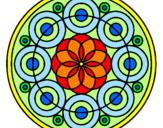 Disegno Mandala 35 pitturato su Rosone