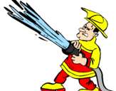 Disegno Pompiere con idrante  pitturato su samuel
