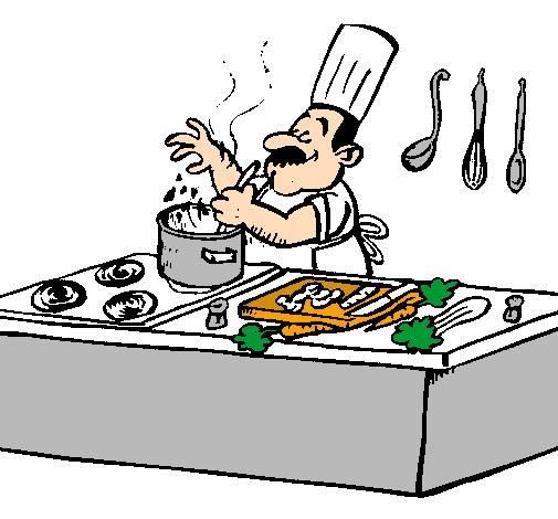 Disegno cuoco in cucina colorato da utente non registrato for Disegni da colorare cucina