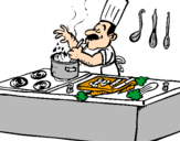 Disegno Cuoco in cucina  pitturato su ELENA