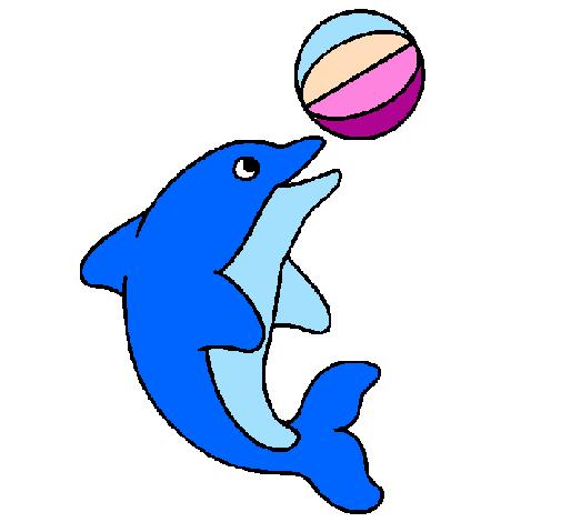 Disegno delfino con una palla colorato da utente non for Delfino disegno da colorare