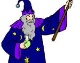 Disegno Mago con la pozione magica  pitturato su mago merlino