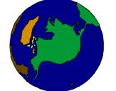 Disegno Pianeta terra pitturato su filippo