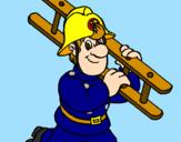 Disegno Pompiere  pitturato su sam ilpompiere
