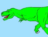 Disegno Tyrannosaurus Rex  pitturato su tirannsauro
