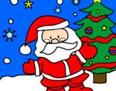 Disegno Babbo Natale pitturato su ANONIMO