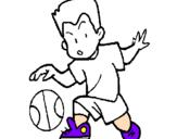 Disegno Bambino che palleggia  pitturato su scarpe