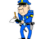 Disegno Poliziotto che fa la multa pitturato su Polizioto