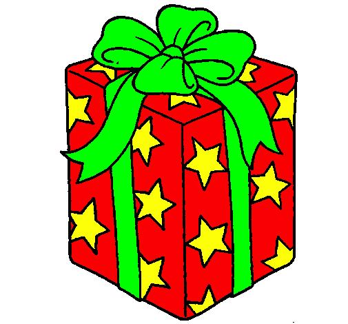 Disegno regalo avvolto in una carta piena di stelle for Immagini di pacchetti regalo