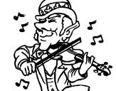 Disegno Folletto che suona il violino pitturato su violino