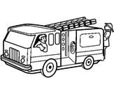 Disegno Pompieri sul camion  pitturato su giacomo