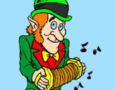 Disegno Folletto con la fisarmonica  pitturato su pio