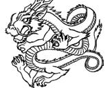 Disegno Drago giapponese  pitturato su marta