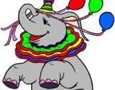Disegno Elefante con 3 palloncini  pitturato su asia