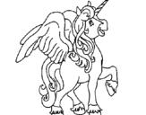 Disegno Unicorno con le ali  pitturato su cavallo