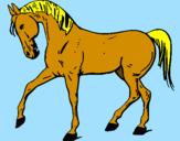 Disegno Cavallo con la zampa alzata  pitturato su dalila