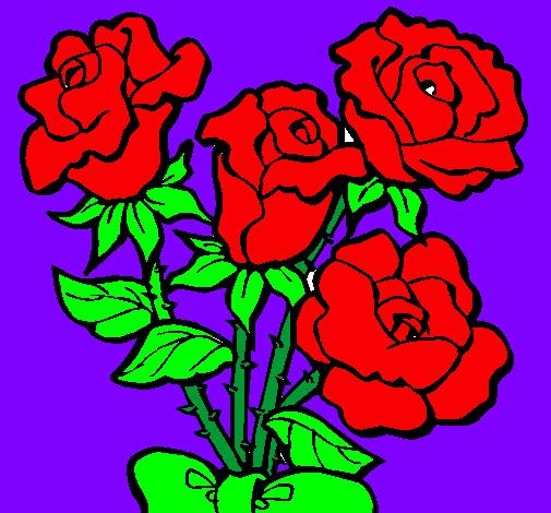 disegno mazzo di rose colorato da utente non registrato il