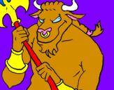 Disegno Minotauro  pitturato su loris