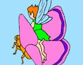 Disegno Folletto e farfalla  pitturato su FATINA E FARFALLA