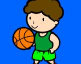 Disegno Giocatore di pallacanestro  pitturato su luigi