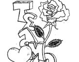 Disegno Ti amo II pitturato su yesenia