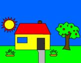 Disegno Casa V pitturato su pasquale gorrasi